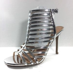 Women's Shiny Silver Krissy Caged Pump, Size 7.5